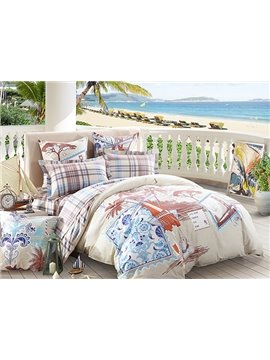 Leisure Holiday Print 4-Piece Cotton Duvet Cover Sets