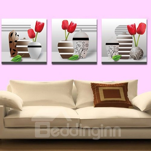 Pretty Vase and Flowers 3-Piece Crystal Film Art Wall Print