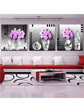 Pretty Pink Roses 3-Piece Crystal Film Art Wall Print