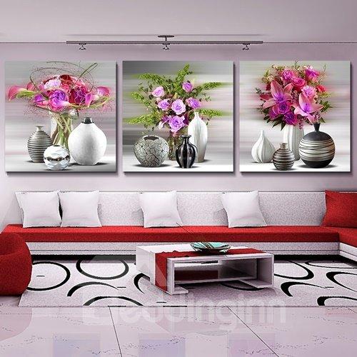 Loving Flowers 3-Piece Crystal Film Art Wall Print