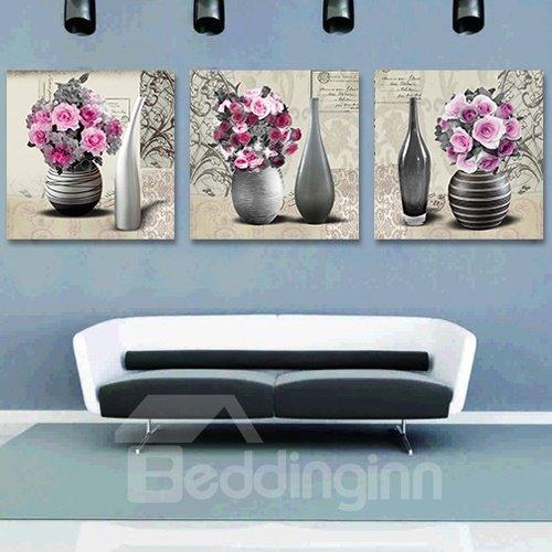 Graceful Pink Roses 3-Piece Crystal Film Art Wall Print