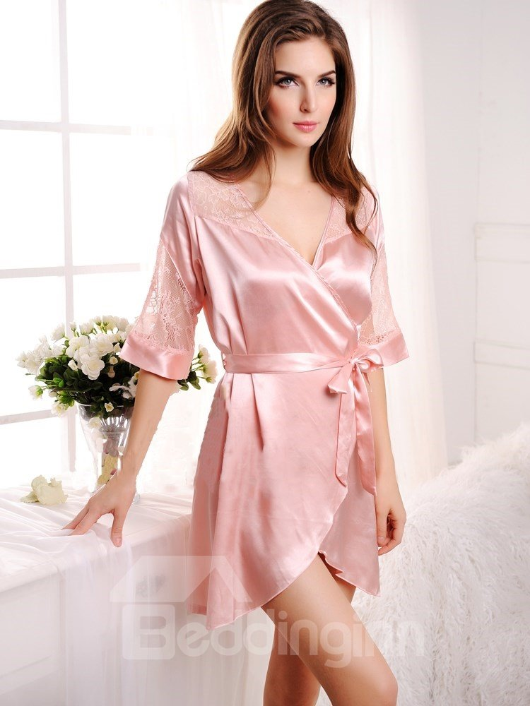 Pear Pink See-through Lace Shoulder And Sleeves  Artificial Silk Robe