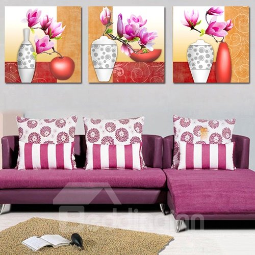New Style Vase 3-Piece Crystal Film Art Wall Print
