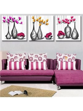 Graceful Vase with Flowers 3-Piece Crystal Film Art Wall Print
