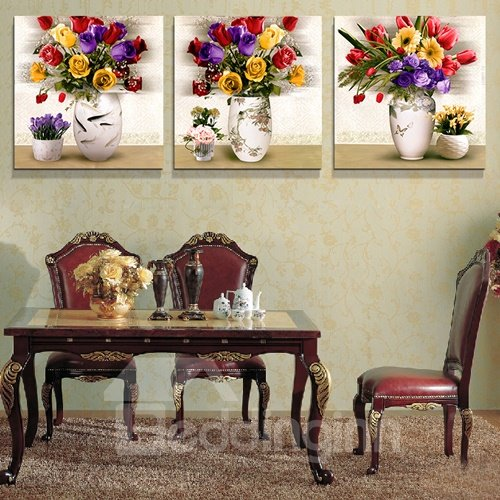 Colorful Roses 3-Piece Crystal Film Art Wall Print