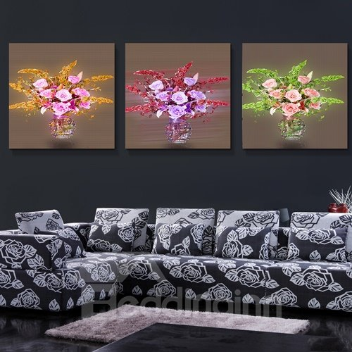 Roses with Pretty Leaves 3-Piece Crystal Film Art Wall Print