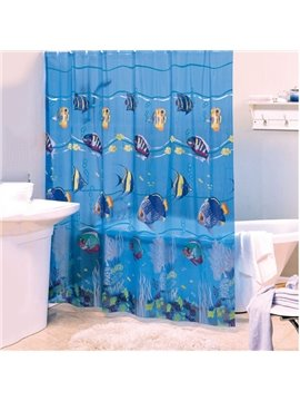 Dynamic Lovely Fish Blue PVC Shower Curtain
