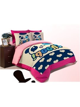 Panda Star Print 3-Piece Coral Fleece Duvet Cover Sets