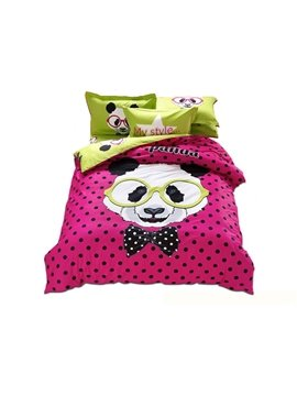 Mr Panda Print 3-Piece 100% Cotton Duvet Cover Sets