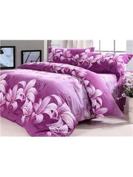 Purple Lily Print 4-Piece 100% Cotton Duvet Cover Sets