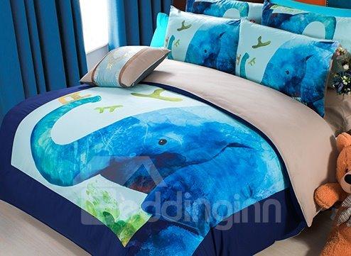 Cartoon Blue Elephant Print 3-Piece Superfine Fiber Duvet Cover Sets