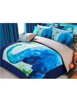 Cartoon Blue Elephant Print 3-Piece Superfine Fiber Duvet Cover Sets