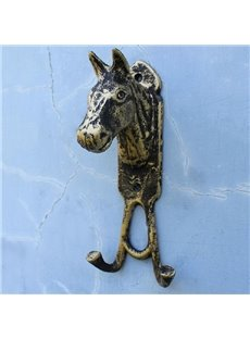 Retro European Style Horsehead Iron Double Hooks