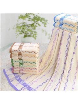 Romantic Wave Jacquard Plush Cotton Bath Towel