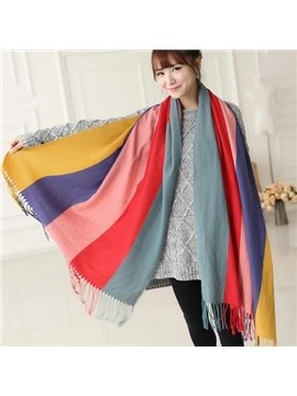 Knited Huge Straps Pattern Wool Shawl Long Scarf