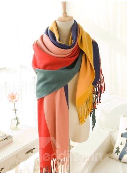 Knited Huge Straps Pattern Wool Shawl Long Scarf