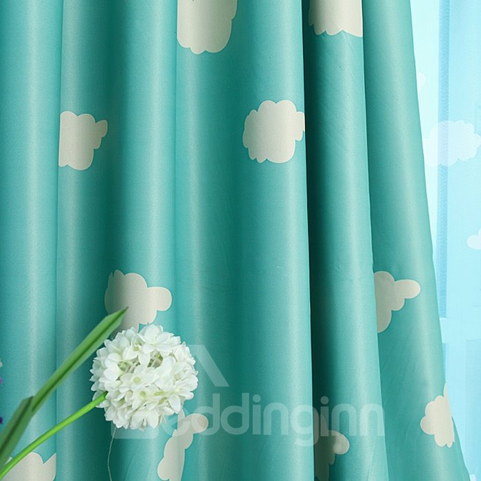 Cartoon Clouds Print Custom Blue Double Pinch Pleat Curtain