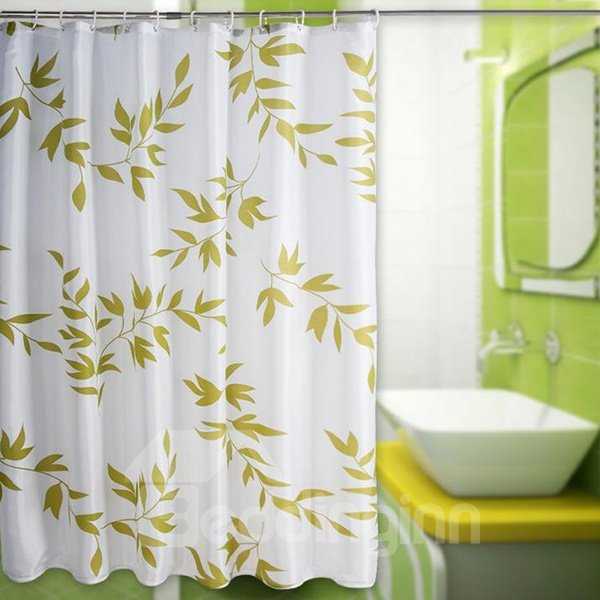 Elegant Fresh Green Leaves Polyester Shower Curtain