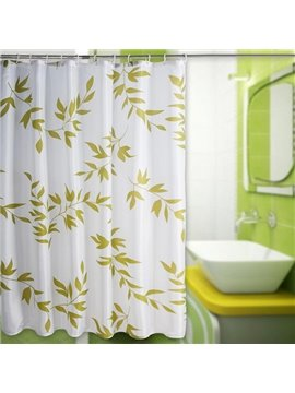Elegant Fresh Green Leaves Polyester Shower Curtain