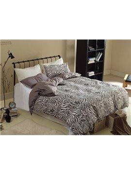 Modern Zebra Print 4-Piece Cotton Duvet Cover Sets