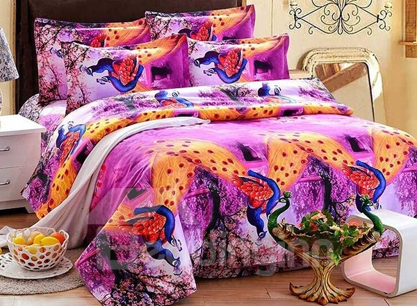 Peacock Print 4-Piece Polyester Duvet Cover Sets