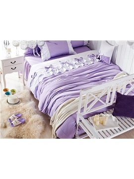 Purple Bow Tie Trim 4-Piece Princess Duvet Cover Sets