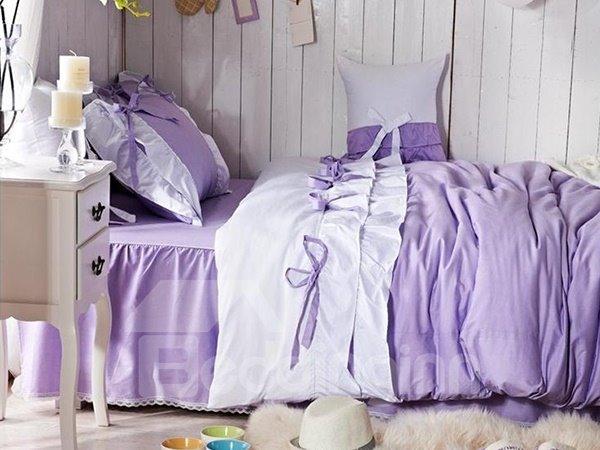 Purple Bow Tie Trim 4-Piece Princess Duvet Cover Sets
