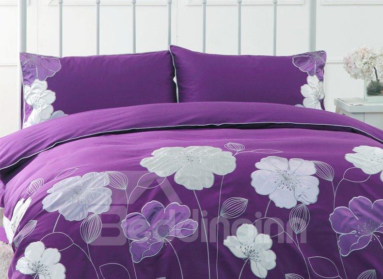 Purple Flower Embroidery 4-Piece Cotton Duvet Cover Sets