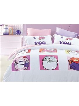 Cute Little Pet Print 4-Piece Cotton Duvet Cover Sets