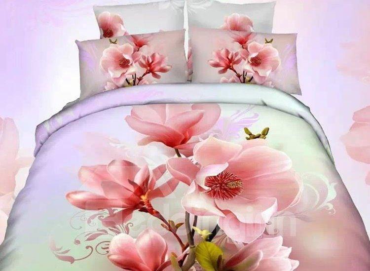 Delicate Pink Flower Print 4-Piece Cotton Duvet Cover Sets