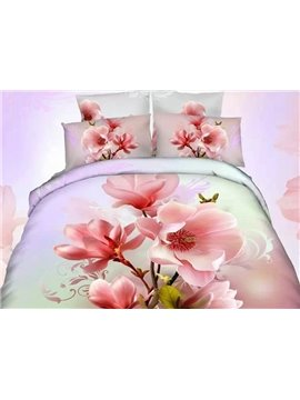 Delicate Pink Flower Print 4-Piece Cotton Duvet Cover Sets