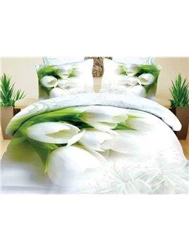 White Tulip Print 4-Piece Cotton Duvet Cover Sets