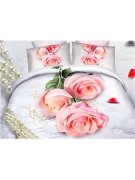 Pink Rose and Precious Pearl Print 4-Piece Cotton Duvet Cover Sets