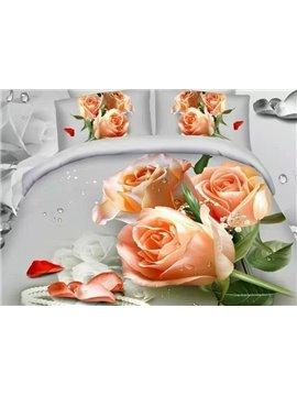 Diamond and Rose Print 4-Piece Cotton Duvet Cover Sets