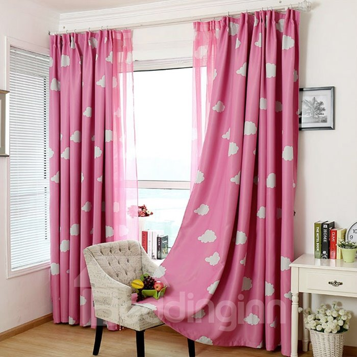 Cute Clouds Print Custom Pink Double Pinch Pleat Curtain