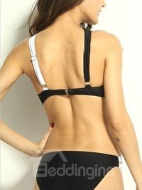 Black And White Straps Cross Push Up Bikini