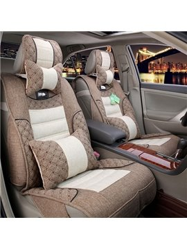 Soft And Simple Style Natural Fiber Filled Flax Car Seat Covers