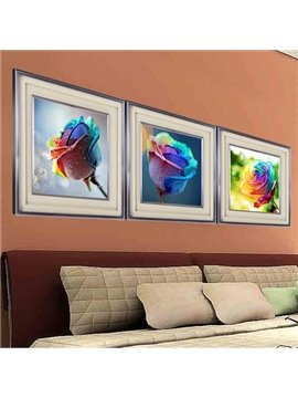 Wonderful 3-Piece Rainbow Multi-Color Roses DIY Diamond Sticker