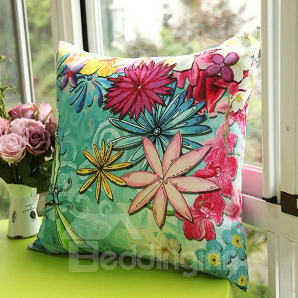 Charming Blooming Flowers Printed Countryside Style One Piece Throw Pillow