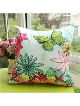 Simple and Natural Flowers and Butterfly Printed Throw Pillow