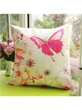 Beautiful Flowers and Butterfly Printed One Piece Throw Pillow