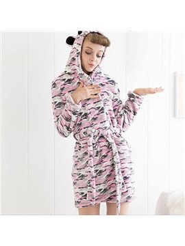 Chic Pink Camouflage Plush Flannel Bathrobe for Female