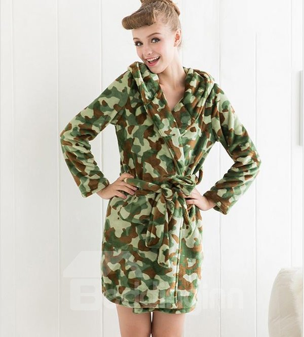 Cool Camouflage Comfy Flannel Bathrobe for Female