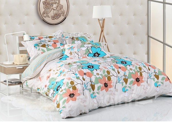 Elegrant Flower Print 4-Piece Cotton Duvet Cover Sets