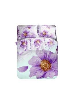 Purple Daisy Print 4-Piece Polyester Duvet Cover Sets