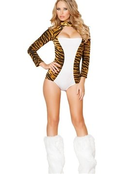 Sexy Tiger Skin Pattern Mini Dress With Feet Cover Costume