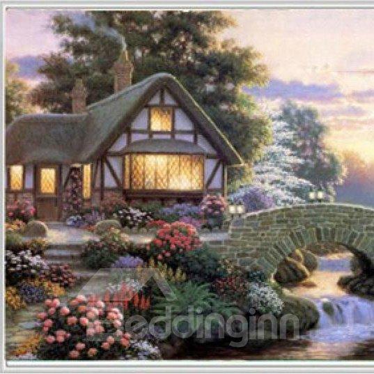 New Style Pretty Countryside House Lamdscape 1-Piece DIY Diamond Sticker