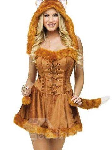 Sexy Golden Furry Neckline Edged Fox Costume