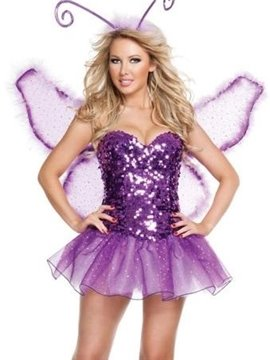 Purple Spirit Of Flowers With Wings Sequins Dress Costume