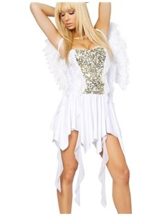 White Cupid With Wings Uneven Skirt Costume